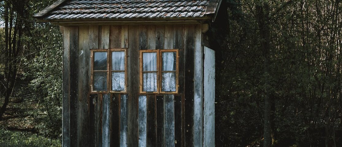 Wooden shed in winter